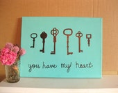 """Key to My Heart - Original Painting on Canvas 12"""" x 16"""""""