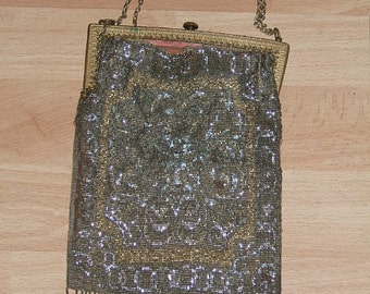 Antique 1800s micro BEADED PURSE steel cut Gold SILVER France