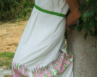 Garden Party a GoGo Vintage 60's Maxi Dress pique white cotton painted irises Sooo Sweet med VINTAGe ClOTHING Sale
