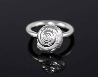 Sterling Silver Kineret Coiled Shell snail Ring