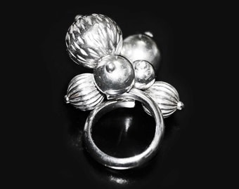 Sterling Silver Ring Adorned with Sterling Silver Textured Beads