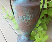 Vintage Ceramic URN with Rich GREEN Patina and Grape Designs.  Double Handle, Planter, Vase.