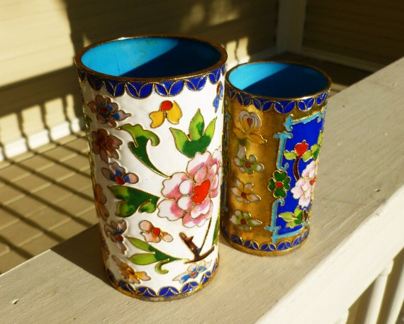 Vintage Set of Chinese CLOISONNE Cups, Pen or Makeup Brush Holder. Large White and Small Blue/Gold.