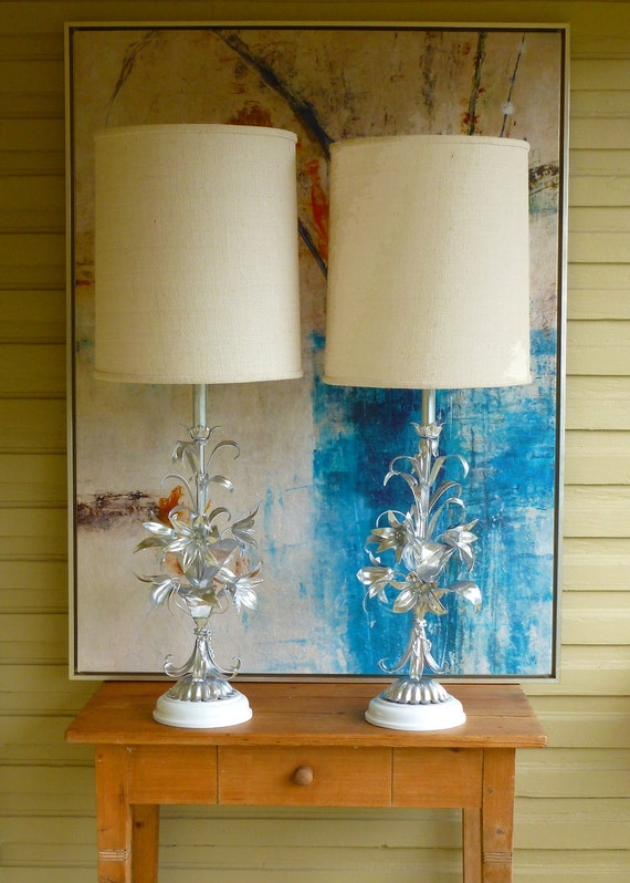 RESERVED for elisiaabrams.  Refurbished Pair of Vintage, Mid Century, Hollywood Regency, GLAM, White and Silver Italian Gilt Flower Lamps.