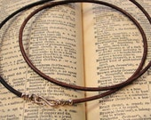 Leather necklace cord with bronze clasp for RQP Studio wax seal jewelry - vintage brown 17 inch