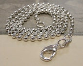 "Sterling Silver Plated 18"" beaded necklace ball chain - 2mm - with lobster clasp"