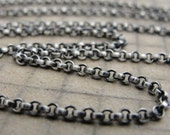 Sterling Silver rollo chain 24 inch long necklace (2.1mm) antique style oxidized for RQP Studio wax seal jewelry