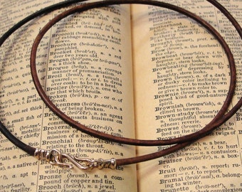 Leather necklace cord with bronze clasp for RQP Studio wax seal jewelry - vintage brown 16 inch
