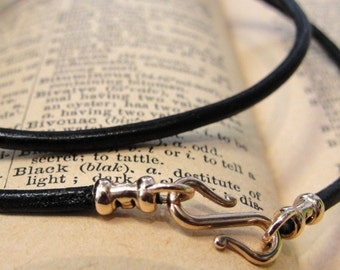 Leather necklace cord with bronze clasp for RQP Studio wax seal jewelry - black 16 inch