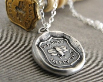 Bee Wax Seal Necklace - We May Be Happy Yet - antique Victorian wax seal charm jewelry by RQP Studio
