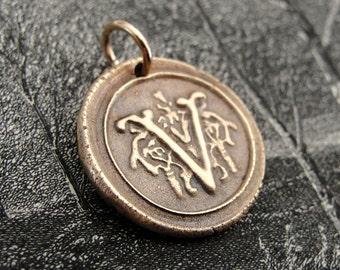 Wax Seal Charm Initial V - wax seal jewelry pendant alphabet charms Letter V by RQP Studio