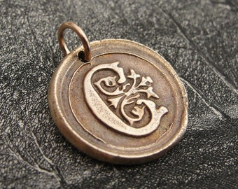 Wax Seal Charm Initial C - wax seal jewelry pendant alphabet charms Letter C by RQP Studio