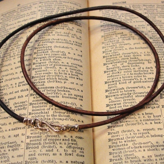 Leather necklace cord with bronze clasp for RQP Studio wax seal jewelry - vintage brown 20 inch