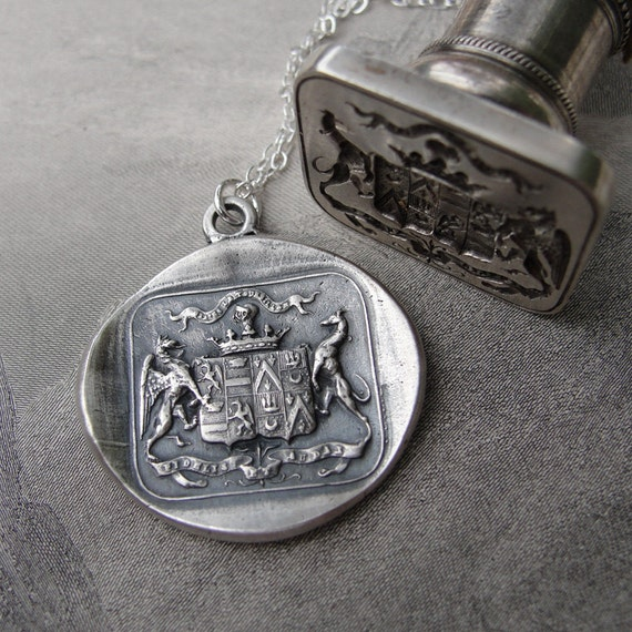 Wax Seal Necklace Griffin and Greyhound - Fear the Vortex - Faithful and Bold - antique wax seal charm jewelry by RQP Studio