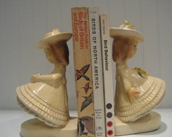 vintage 1930s girl chalkware bookends/girls room/vintage decor/book accessories