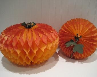 vintage halloween/ fall decor/ honeycomb paper  pumpkins/beistle