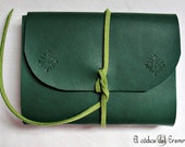 Handmade Small Notebook, Pocket MEDITATIO. Green eco-skin, hand tooled design.