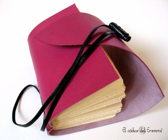 Fuchsia Leather Travel Journal, Small Pink Leather Notebook, MEDITATIO