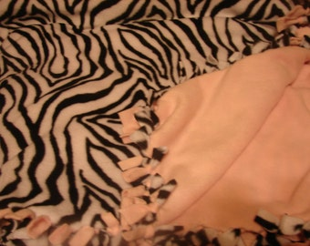 Fleece blanket,Black and white zebra print fleece, other side is all light pink in color