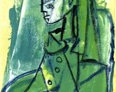 Ode to Picasso's Sylvette - Monotype Painting - Cubist Figurative