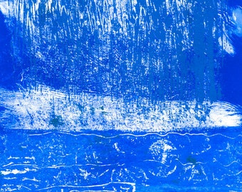 Spring Rain - Monotype Painting - Rain on the Water