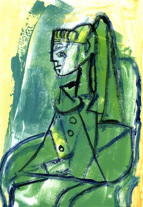 Ode to Picassos Sylvette Monotype Painting Cubist