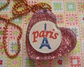 I heart Paris Resin Glitter pendant necklace