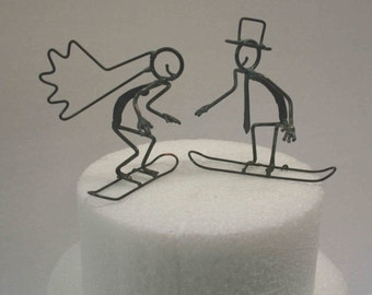 Snowboarder Wedding Cake Toppers