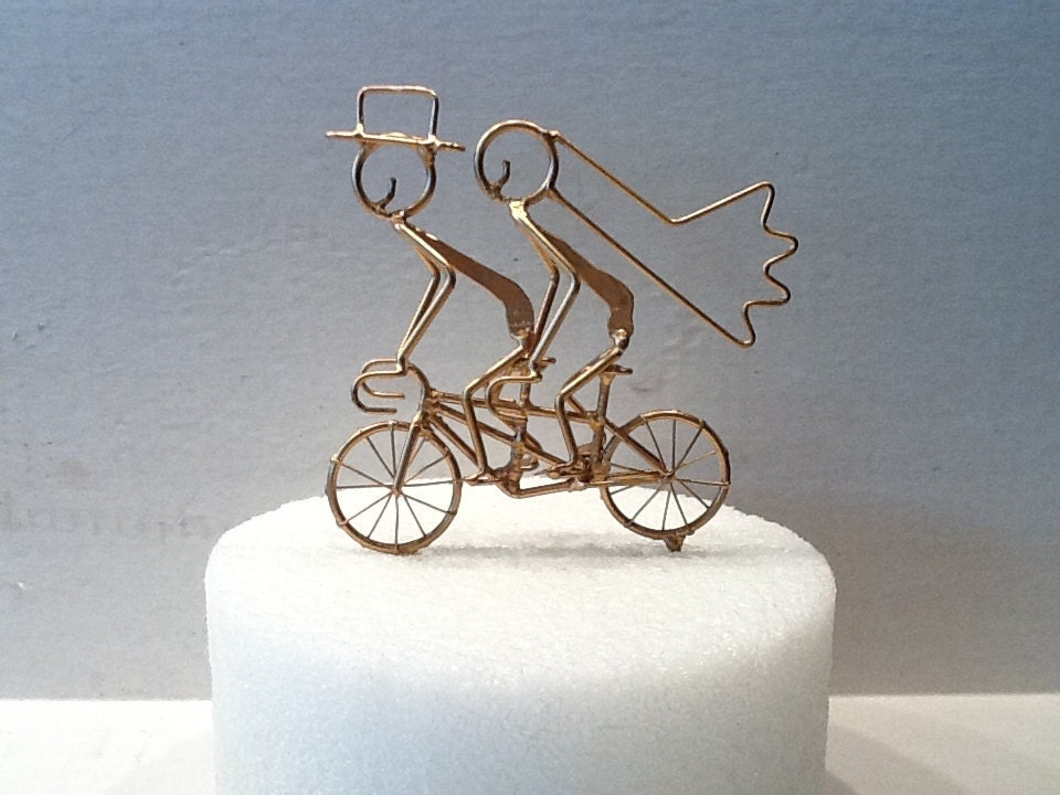tandem bicycle wedding cake topper miniature tandem bicycle cake topper gold 20752