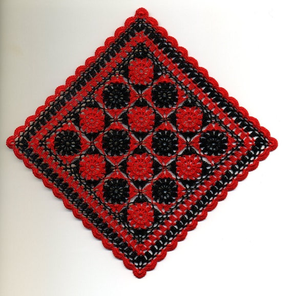 Dollhouse Miniature Afghan Bedspread Cover Throw Red and Black