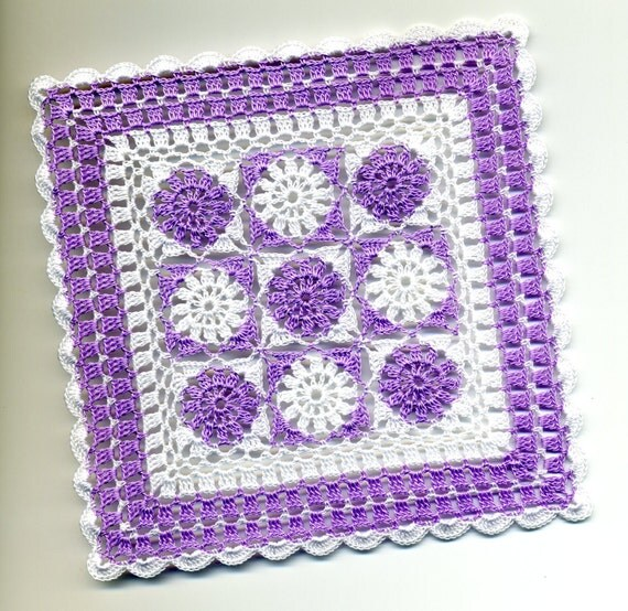 Dollhouse Miniature Afghan Bedspread Cover Throw Lavender and White