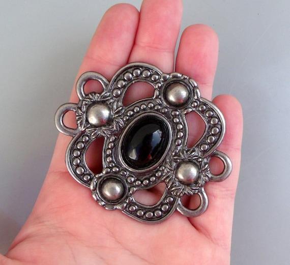 LARGE Salvaged Silver Tribal Necklace Pendant Or Belt Buckle Finding Craft Destash Scrapbooking