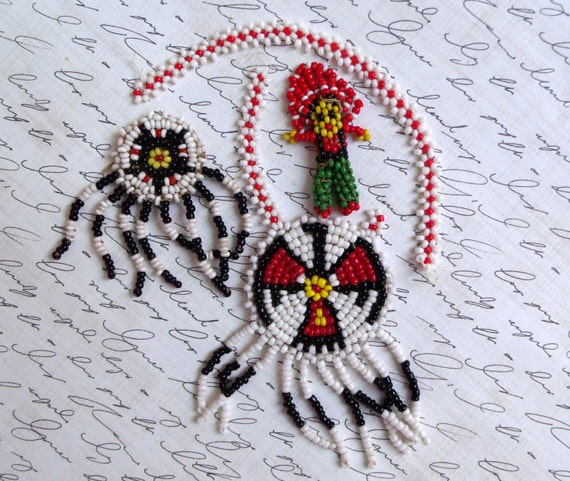 Vintage Salvaged Native American Indian Beaded Dream Catcher Findings Destash Scrapbooking Lot