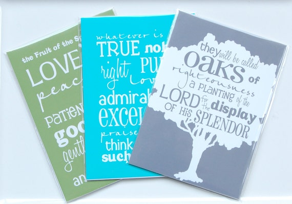 Clearance (30% off) 5x7 Scripture Prints - Set of Three - READY TO SHIP-  home decor wall artwork.