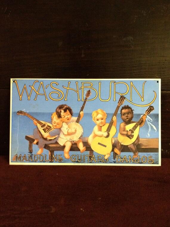 Vintage Washburn Guitars Porcelain Sign