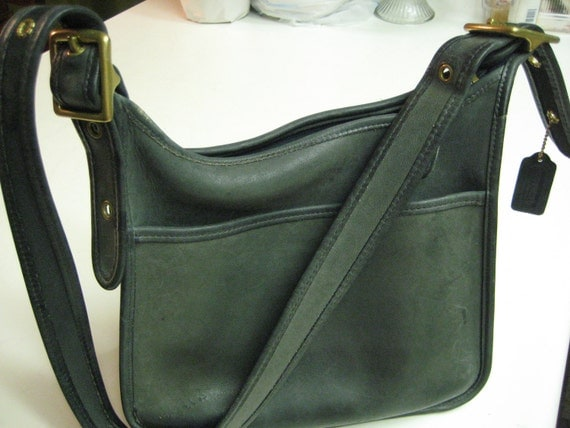 Vintage Green 100% Authentic Coach Leather Hobo/Cross body purse bag