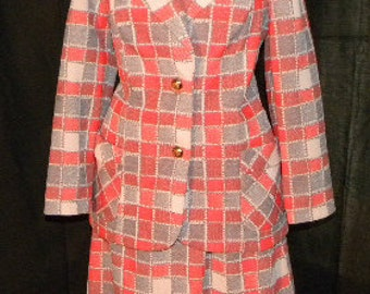 Bold orange /grey /cream plaid print Vintage womens Suit. Original gold buttons
