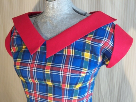 RESERVED ------- New Vintage Blouse with Playful Plaid Print