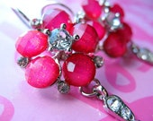 Hot Pink Sparkle large flower earrings-Metal and rhinestone-Breast Cancer Awareness