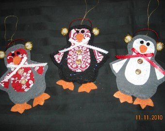 Felt Penguin Ornaments