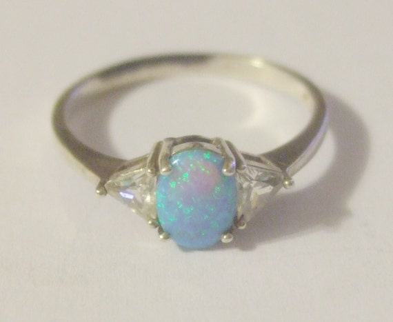 Items Similar To Sterling Silver 925 Synthetic Opal Ring