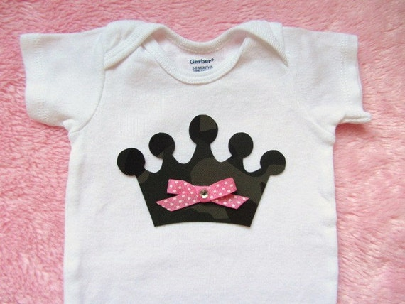 DIY Baby Girl Iron-on Applique  - My Little Princess Camo Crown with Bling