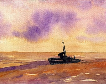 Free Shipping, Print Watercolor Painting Boat Beach Sunset by Alicia VanNoy Call