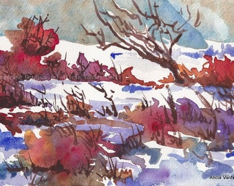 Watercolor Print Winter Snow, Art by Alicia VanNoy Call, Free Shipping