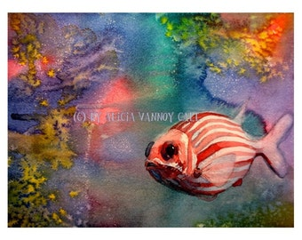 Watercolor painting, Pink striped Fish by Alicia VanNoy Call, Print