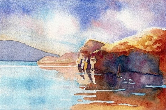 Print Watercolor Painting Summer Landscape Lake Powell by Alicia VanNoy Call, Free Shipping
