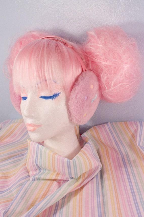 OOAK Pink Fuzzy Adjustable Candy Earmuffs