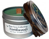 MAN CAVE CANDLE - Northwoods Scented - 100% Soy with Wooden Wick - 4 oz