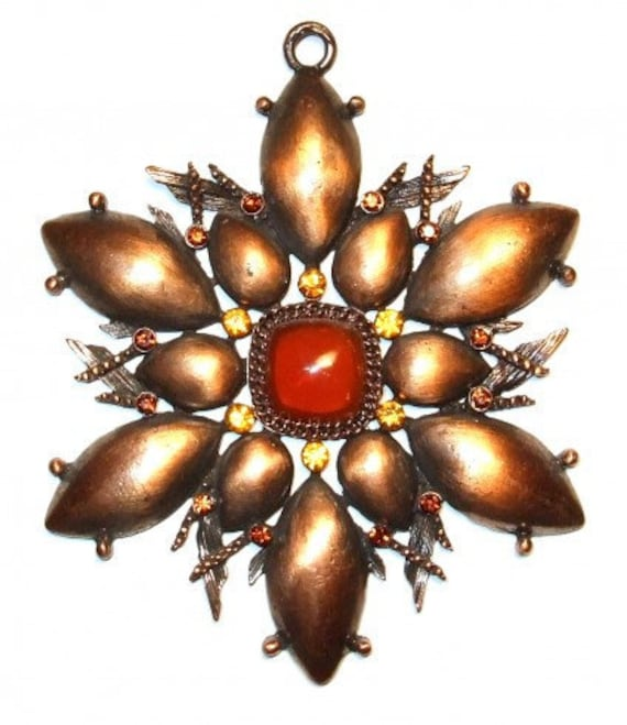 DESTASH - ART DECO Style Brushed Copper Tone Pendant Jewelry Making- Necklace - beading supplies