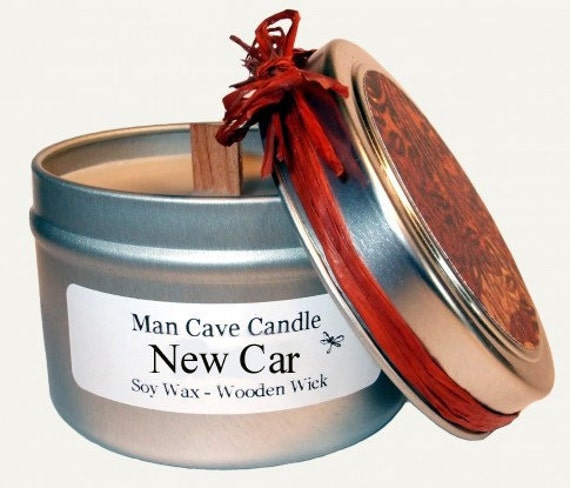 MAN CAVE CANDLE - New Car Scented - 100% Soy with Wooden Wick - 4 oz
